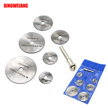 6PCS HSS Rotary Tool 22 /25 /32 /35 /44 /50mm Circular Saw Blades Cutting Discs Mandrel for Dremel Cut off(China)