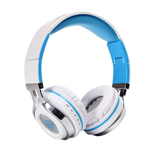 Wireless Bluetooth headset: foldable built-in microphone and rechargeable stereo headband (sky blue)(China)
