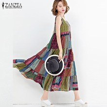 Boho Women Tank Dress ZANZEA 2017 Fashion Sleeveless Cotton Linen Vestido Summer Loose Casual Beach Holiday Midi Long Sundress(China)