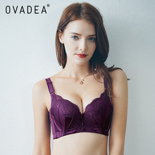 OVADEA Sexy Embroidery Floral Lace Solid Padded Push Up Bra 3/4 Cup Gather Adjustable Strap Cotton Bra New Sweet Girls' Red Bra(China)