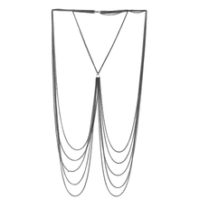 Lureme Sexy Silver Tone Bikini Beach Crossover Harness Necklace Waist Belly Body Chain Jewelry (bc000005)(China)