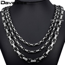 Davieslee Men's Necklace Stainless Steel Chain for Men Black Silver Color Byzantine Box Chain DKNM19(China)