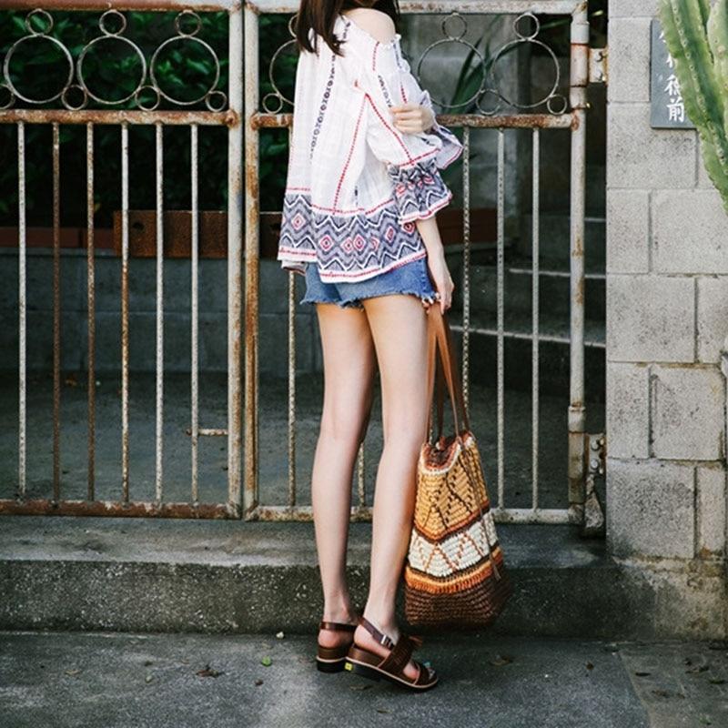 Women Straw Bag Bohemian Female Summer Large Beach Vintage Woven Handbag Lady Shopping Shoulder Bags Travel Casual Tote SS3056 (4)