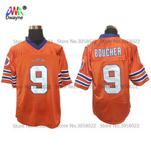 2017 Dwayne Mens Cheap THE WATERBOY FOOTBALL JERSEY #9 Bobby Boucher Jersey Adam Sandler Movie Retro Stitched Orange Shirt(China)