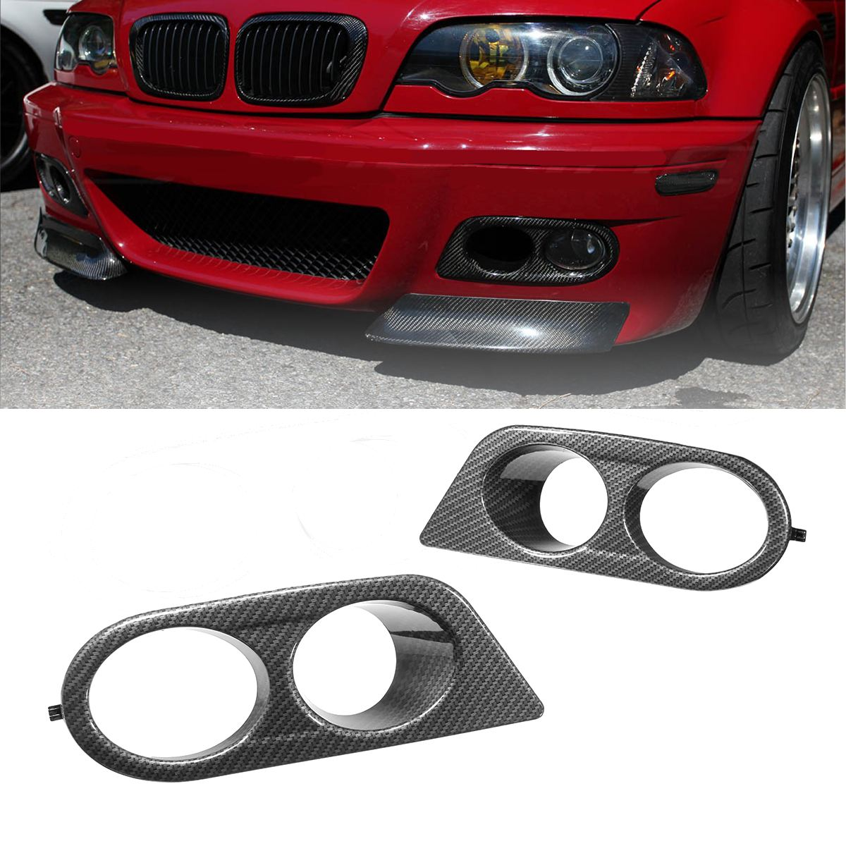 Matte black m color front car style radiator racing grills for bmw pair car fog light covers surround air duct for bmw e46 m3 2001 2006 carbon fandeluxe Images