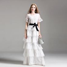 High Quality New Heavy Cake Ball Gown Dress White Lace and Black Belt Round Neck Trumpet Flower Flower Embroidery Fashion Dress