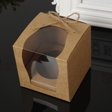 Brown Kraft Paper Cupcake Box Cake Box With Window Wedding Party Favor Box Cake Packaging(China)
