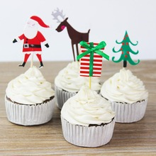 24 PCS Cute Santa Cake Topper Pick Topper Birthday Wedding Christmas Party Scene Cake Dessert Decor Toothpick Inserted Card Sign(China)