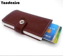 Yaodeniso Antitheft men wallet leather slim mini RFID wallets automatic business card holder pop up case credit card protector