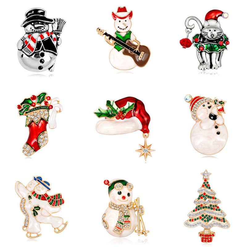 10b7cab3cfa12 1 PC 9 Styles Christmas Badge Rhinestone Enamel Pin On Brooch Xmas Tree  Stockings Snowman New