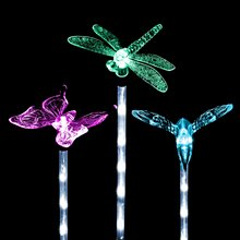Solar Powered Garden Lights, Kohree Solar Garden Stake Light, Multi-color, Hummingbird, Butterfly & Dragonfly (3 Pack)(China)