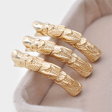 4PCS 35x7MM 24K Champagne Gold Color Plated Brass Connect Rope Dragon Bracelet Curved Tube Diy Jewelry Accessories(China)