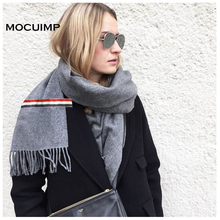 MOCUIMP scarf luxury brand designer women shawls winter cashmere women men wool white red blue colors lover's ribbon scarves(China)