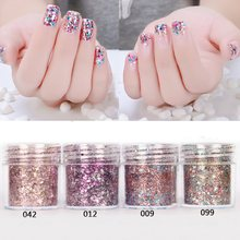 4box 10ml/Box Nail Glitter Powder Tips Pink Rose Red Colorful Ultra-thin & 1mm Mixed Sequins Eyeshadow Manicure Decoration 2017