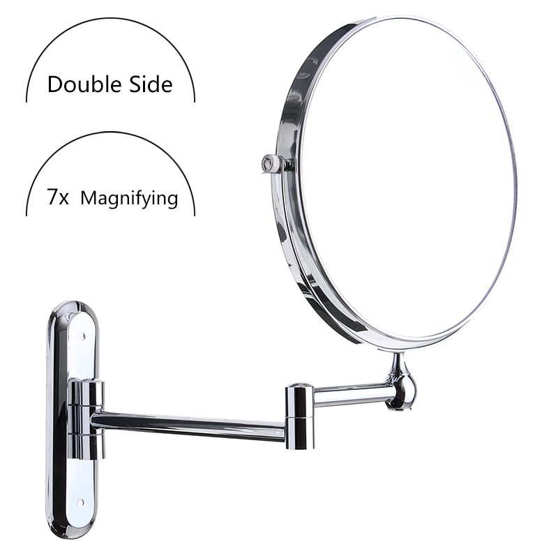 8 inch Sliver Round Double Side Wall Mounted Makeup Mirror Bathroom Shaving Magnifying Mirror 7x Magnification Folding Mirrors<br>