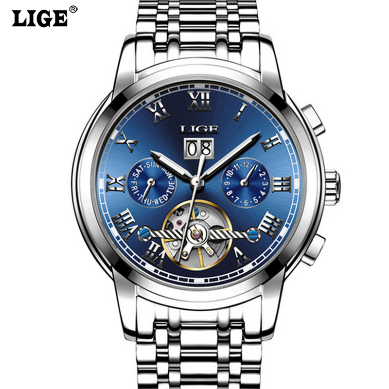 Tourbillon Skeleton Men Fashion Automatic Self Wind Watches Luxury Mechanical Men Watches Waterproof Business Casual Watches<br>