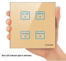 New Luxury Glass Gold 4 gangs 2 way touch light wall switch,LED Smart touch screen switch Free Customize Switch, Free Shipping