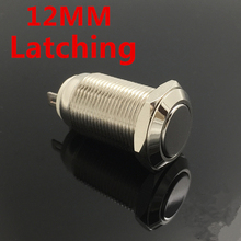 1pcs 12mm Waterproof Latching Maintained Flat Round Stainless Steel Metal Push Button Car Start Horn Speaker Bell Automatic Lock