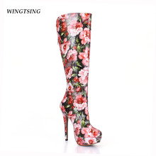 2017 Hot Sale Top Fashion Winter Pu Thin Heels 3-5cm Zip Winter Boots Botas Mujer Beautiful Printing Boots Ladies Dress Shoes(China)