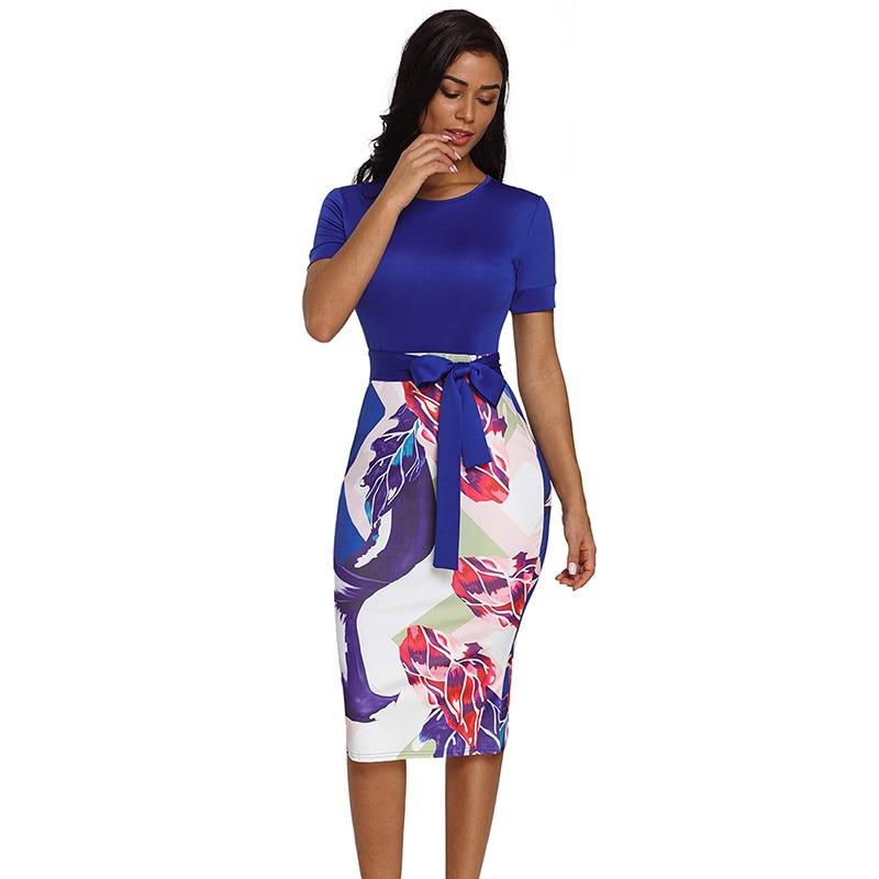 Blue-Bowknot-Short-Sleeve-Printed-Sheath-Dress-LC610096-5-1