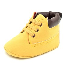 Winter Baby Shoes, Soft Warm Non-slip Lace-up Infant Crib Shoes First Walkers, Toddler Boys Girls Boots, Cute Yellow Prewalkers