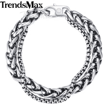 Buy Trendsmax Wheat Curb Cuban Link Mens Bracelet Double Chain Stainless Steel Polished Customize Silver Tone 13mm KDBM01 for $8.99 in AliExpress store