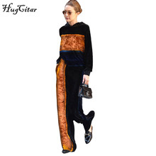 Hugcitar velvet casual women Tracksuits 2017 autumn winter women hoodies sweatshirt pants two pieces set Gigi hadid style suit(China)
