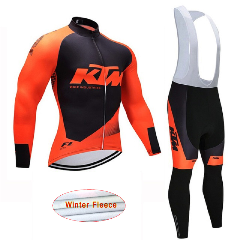 2018 KTM Team Winter Men Cycling Jersey Long Sleeves MTB Bike Ropa Ciclismo Cycle Sportswear with Gel Pad<br>