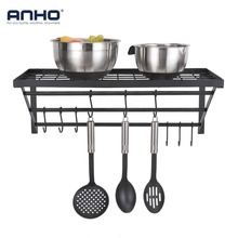 Kitchen Wall Mounted Storage Rack Bathroom Shampoo Rack Hanging Hooks Organizer 10 Hooks Cookware Holder