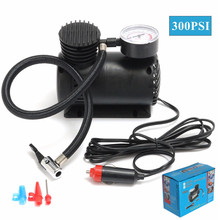12V Portable Mini Air Compressor 300 PSI Auto Car Electric Tire Inflator with 2 Nozzle Adapters Bicycle Pump Accessories