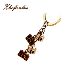 Mini Camera Keyring Punk Style Pure Hand Men Women Couple Keychain Alloy Key Ring Jewelrys(China)