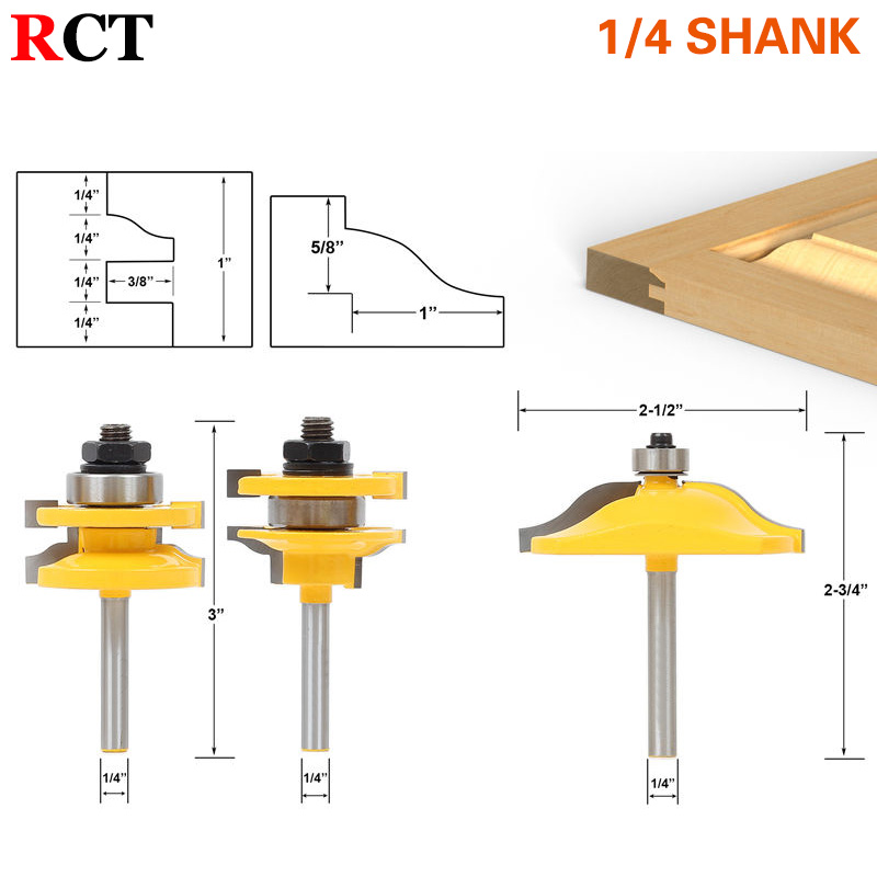 Raised Panel Cabinet Door Router Bit Set - 3 Bit Ogee - 1/4 Shank Woodworking cutter Tenon Cutter for Woodworking Tool RCT<br>