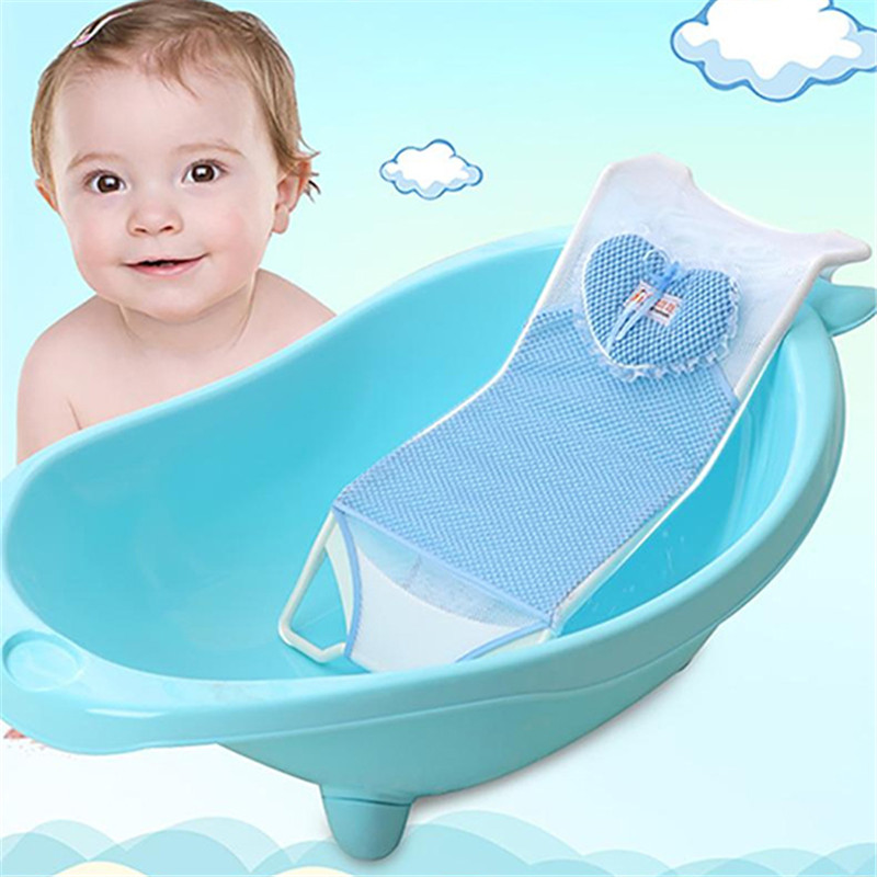 Pink Blue Newborn Infant Bath Net Seat Mat Holder Support Bed Toddler Shower Supplies Non-Slip Bathtub Baby Bath Protection