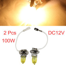 UXCELL 2Pcs H3 Fog Headlight Hod Halogen Bulb Golden Yellow Auto Car Light 12V 100W(China)