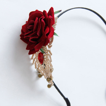 Stylish Women's Rose Flower Rhinestone Bell Crochet Lace Headband Hair Band(China)