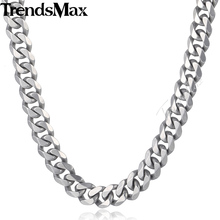 Buy Trendsmax Matte Brushed Polished Necklace Mens Chain 316L Stainless Steel Cut Curb Cuban Link Silver Tone 14.5mm KHNM18 for $9.23 in AliExpress store