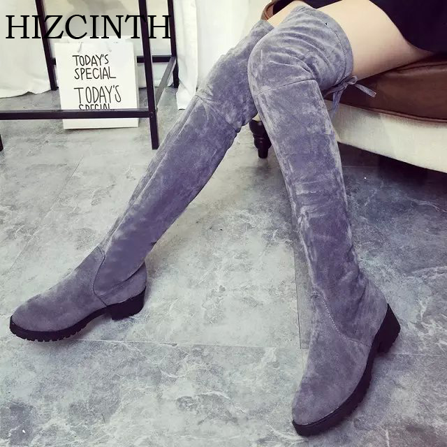 HIZCINTH 2017 Winter Long Boots Round Head Knee-high Boots Stretch Super Thin Ladies Boots Shoes Woman Thigh High Boots Botas<br>