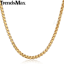 Buy Trendsmax Womens Mens Necklace Gold Color Box Link Stainless Steel Chain KNM128 for $1.99 in AliExpress store
