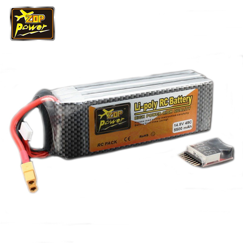 Newest ZOP Power 14.8V 5500mAh 4S 45C Lipo Battery XT60 Plug Connector With Remote Battery Monitor for RC Models Toy Helicopter<br>