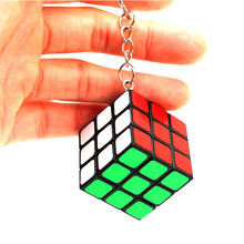3x3x3 Keychain Decoration Puzzle Cube PVC Sticker Puzzle Magic Speed Cube Educational Toys Fidget Cube for Adults(China)