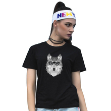 Women Summer Couple Tee Shirt Bespectacled Wolf Print Short Sleeve T-shirt(China)