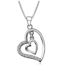 Uloveido Double Heart Pendant & Necklace for Women Accessories White Crystal Love CZ Zircon Pendants Stone Joias Ulove N698(China)