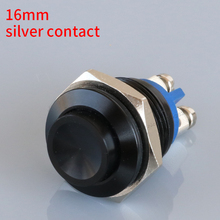 16mm black Momentary self reset concave Push Button Switch S16C-10 horn screw terminal 1NO metal silver contact