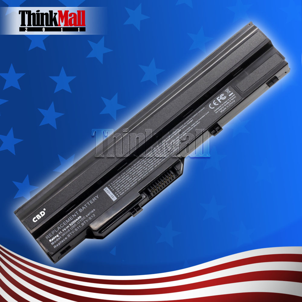 New Laptop Replacement Battery for MSI Wind MS-U100(L) Umpc Ahtec Averatec CMS HCL LG X100 11.1V/5200MAH Black(China)