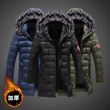2019 Fashion Winter Jacket Men Hooded Faux Fur Collar Long Coat Camouflage Military Outwear Tops Velvet Warm Parka Men Trench(China)