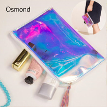 Osmond Women Tassel Make Up Bag Hologram Laser Cosmetic Bags Transparent PVC Travel Stationery Pouch Lady Cosmetic Cases Clear