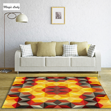 Carpet Modern Designs Living Room Bedroom Pentagons Shapes Texture Abstract Decorations Pattern Lines Brown Orange Yellow Gray