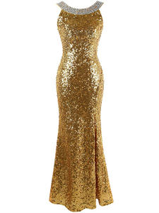 Angel-Fashions Party-Gown Evening-Dress Gatsby Gold Sequined Split Long 1920S Backless
