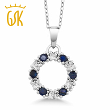 "0.5"" Genuine Sapphire & Diamond Circle Eternity 925 Sterling Silver Pendant"
