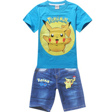 2016 children summer shorts sets baby boys all infant girl pokemon go pikachu clothes for little kids tracksuit costume clothing(China)